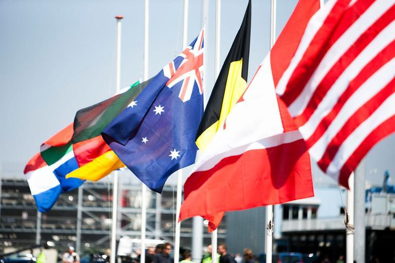 Flags flying on flagpoles